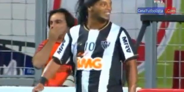 ronaldinho nearly scores