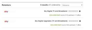 Cashback website and Sky Sports