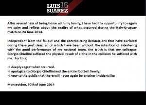 I'm sorry: Suarez' apology to Chiellini in full.