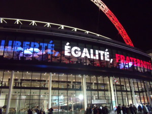 The French motto displayed on Wembley's screens