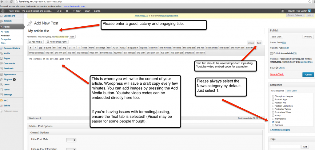 Instructions on using the Post Editor