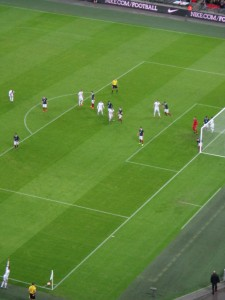 An England corner in the 2-0 win