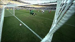 The goal that never was. Frank Lampard making it 2-2 against Germany at World Cup 2010 but wait...no goal line technology meant it didn't count and the auld enemy went on to win convincingly in the end 4-1.