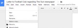 Letter regarding The Sun